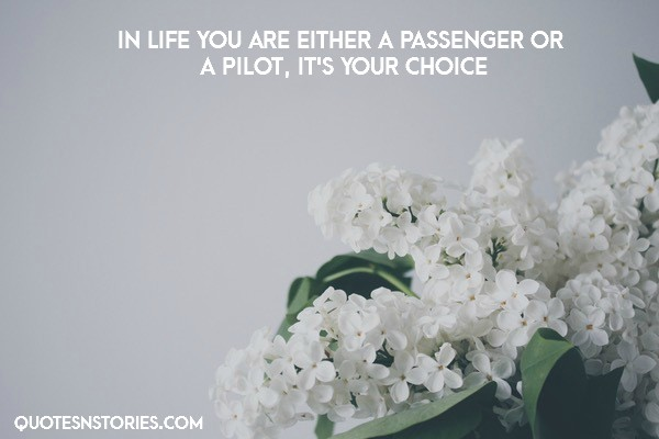 In life you are either a passenger or a pilot, it's your choice